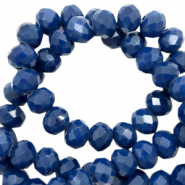 Top faceted beads 3x2mm disc Light Ensign Blue-Pearl Shine coating
