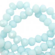 Top faceted beads 6x4mm disc Bleached Aqua Blue-High Shine Coating