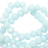 Top faceted beads 4x3mm disc Bleached Aqua Blue-High Shine Coating