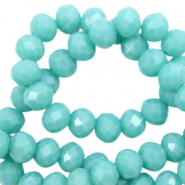 Top faceted beads 6x4mm disc Tiffany Blue-Pearl Shine Coating