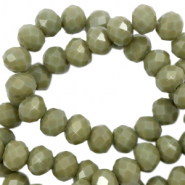 Top faceted beads 6x4mm disc Dusty Olive Green-Pearl Shine Coating