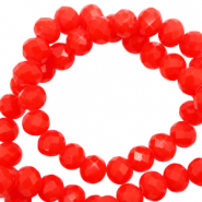 Top faceted beads 4x3mm disc Flame Red-Pearl Shine Coating