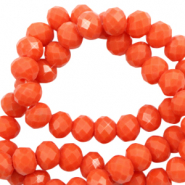 Top faceted beads 8x6mm disc Tangerine Tango Red-Pearl Shine Coating