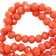 Top faceted beads 3x2mm disc Tangerine Tango Red-Pearl Shine Coating