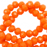 Top faceted beads 6x4mm disc Saffron Orange-Pearl Shine Coating