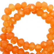 Top faceted beads 4x3mm disc Topaz Orange-Pearl Shine Coating