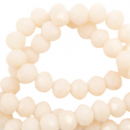 Top faceted beads 8x6mm disc Vanilla Delight Beige-Pearl Shine Coating