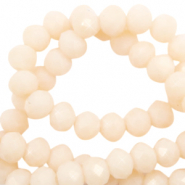 Top faceted beads 6x4mm disc Vanilla Delight Beige-Pearl Shine Coating