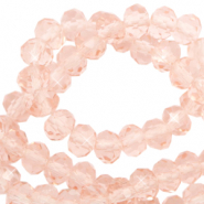 Top faceted beads 3x2mm disc Peachy Rose-Pearl Shine Coating