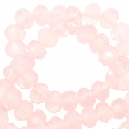 Top faceted beads 4x3mm disc Crystal Coral Pink-Pearl Shine Coating