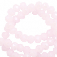 Top faceted beads 6x4mm disc Oleander Pink-Pearl Shine Coating