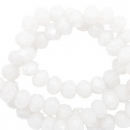 Top faceted beads 8x6mm disc Brilliant White-Pearl Shine Coating