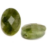 Natural stone beads faceted oval Olive Green