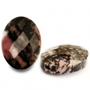 Natural stone beads faceted oval Rose Black