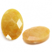 Natural stone beads faceted oval Mixed Yellow