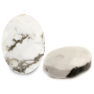 Natural stone beads faceted oval White Marble