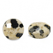Natural stone beads faceted round 7mm Greige
