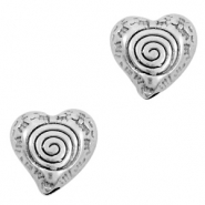 DQ European metal beads heart Antique Silver (nickel free)