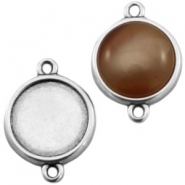 DQ metal setting 2 loops for 12mm cabochon Antique silver (nickel free)