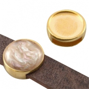 DQ metal slider setting for 12mm cabochon (for 10mm flat DQ leather) Gold (nickel free)