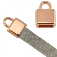 DQ metal square end cap (for 5mm flat leather) Rose gold (nickel free)