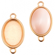 DQ metal oval setting two loops (for 13x18mm cabochon) Rose gold (nickel free)