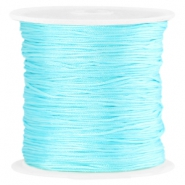 Macramé satin bead cord 0.8mm Aquamarine blue