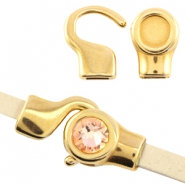DQ metal setting/hook clasp for7mm cabochon and Swarovski SS34 (for 5mm flat leather) Gold (nickel free)