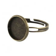 Metal ring for 12mm cabochon Bronze