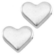 DQ metal heart shaped bead Antique silver (nickel free)