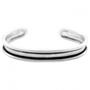 DQ metal bracelet base (for 5mm cord/leather) Antique silver (nickel free)