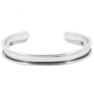 DQ metal bracelet base (for 5mm cord/leather) Silver (nickel free)