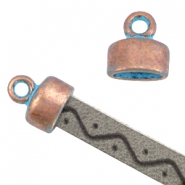 DQ end caps with loop (for 5mm flat leather) Copper blue patina (nickel free)