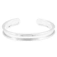 DQ metal findings bracelet base (for 5mm string/leather) Light silver (nickel free)