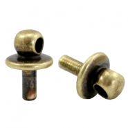DQ metal end caps with eye for beads with a Ø1.9mm threading hole Antique bronze (nickel free)