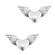 DQ metal heart wings beads Antique silver (nickel free)