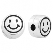 DQ metal beads round smiley Antique silver (nickel free)