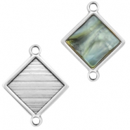 DQ metal square settings with two loops for 12mm cabochon Antique silver (nickel free)