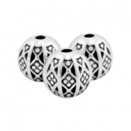 DQ metal beads ball bohemian 8mm Antique silver (nickel free)