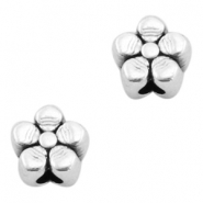 DQ metal beads flower 4mm Antique silver (nickel free)