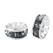 Rhinestone crystal rondelle 10mm Silver-antracite
