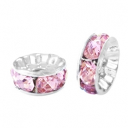 Rhinestone crystal rondelle 6mm Silver-pink