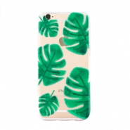 Trendy phone cases for Iphone 7 Plus palm leaf Transparent-green