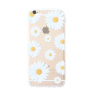 Trendy phone cases for Iphone 7 daisies Transparent-white yellow