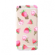 Trendy phone cases for Iphone 5 icecream & fruit Transparent-pink green
