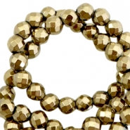 Round hematite beads 4mm faceted cut Antique gold