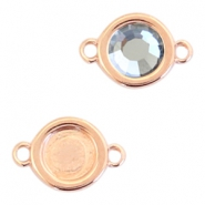 Round DQ metal settings 2 loops for SS30 flatback stone Rose gold (nickel free)