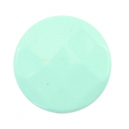 Flat DQ acrylic beads 30mm round faceted Turquoise