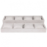 Jewellery display 8-compartments with pillow Country Grey
