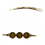 Settings bobby pin metal for 3 cabochons 12 mm Bronze